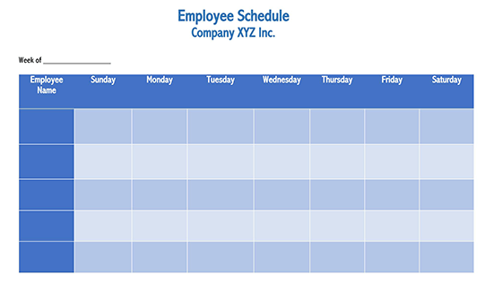 It then counts the number of employees working for each day. 26 Free Employee Work Schedule Templates Word Excel
