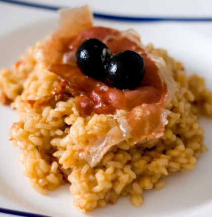 Risotto de tomate seco y jamón