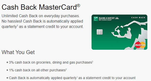 Bank Of The West Cash Back Mastercard Review - 3% On Groceries. Dining & Gas Purchases [AZ. CA. CO. ID. IA. KS. MN. MO. NE. NV. NM. ND. OK. OR. SD ...