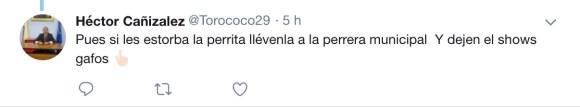 Comentario redes Héctor Cañizalez sobre abandono de perrita en El Retiro.