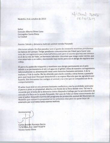 Carta Carlos Naranjo a inspector Santa Elena