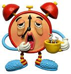 Sleepy-Yawning-Alarm-Clock-With-Bloodshot-Eyes-Wearing-Slippers-And-Holding-Coffee-Clipart-Picture