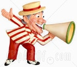 12357-Clay-Sculpture-Of-A-Carnival-Barker-Speaking-Into-A-Megaphone-Clipart