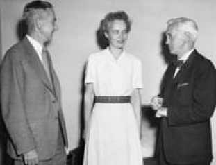 Anne Miller, with Dr. Alexander Fleming (right), who saved her life