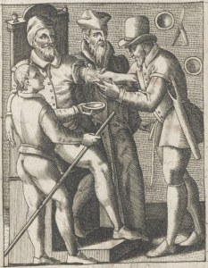 L0041511 Man preparing to be bled