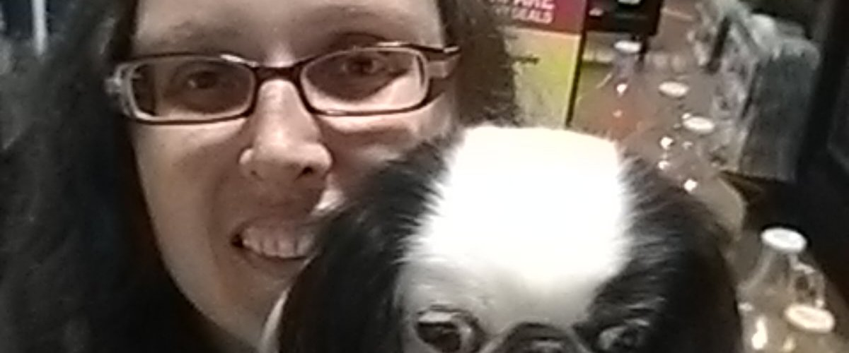 Selfie of Veronica and Hestia in the cold section of the grocery store.