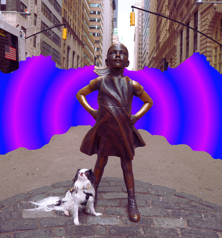 Fearless girl statue with Hestia sitting at her feet. Behind the statue, it is purple and blue trippiness that Brad added.