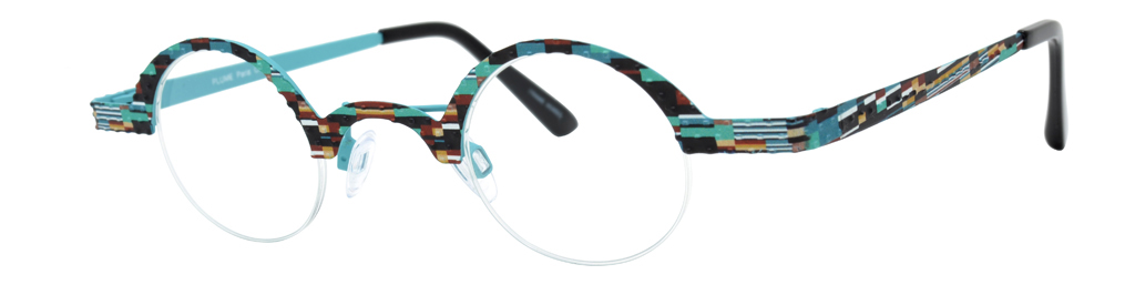 Teal and multicolored frames for small round glasses