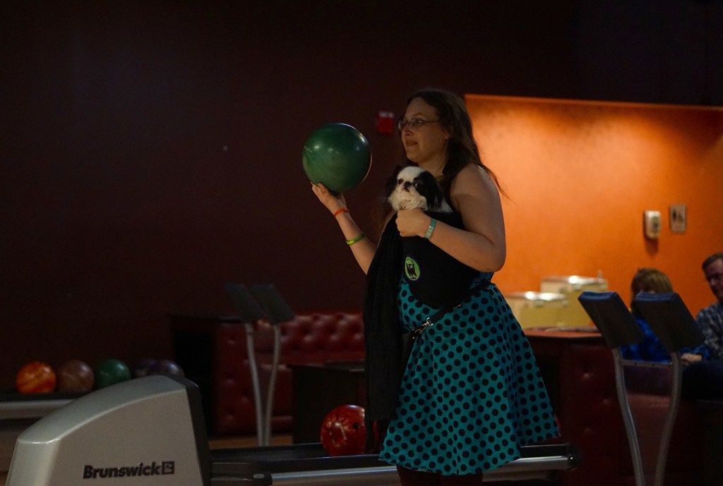 Veronica and gets ready to bowl.  Hestia looks at the camera with ennui.