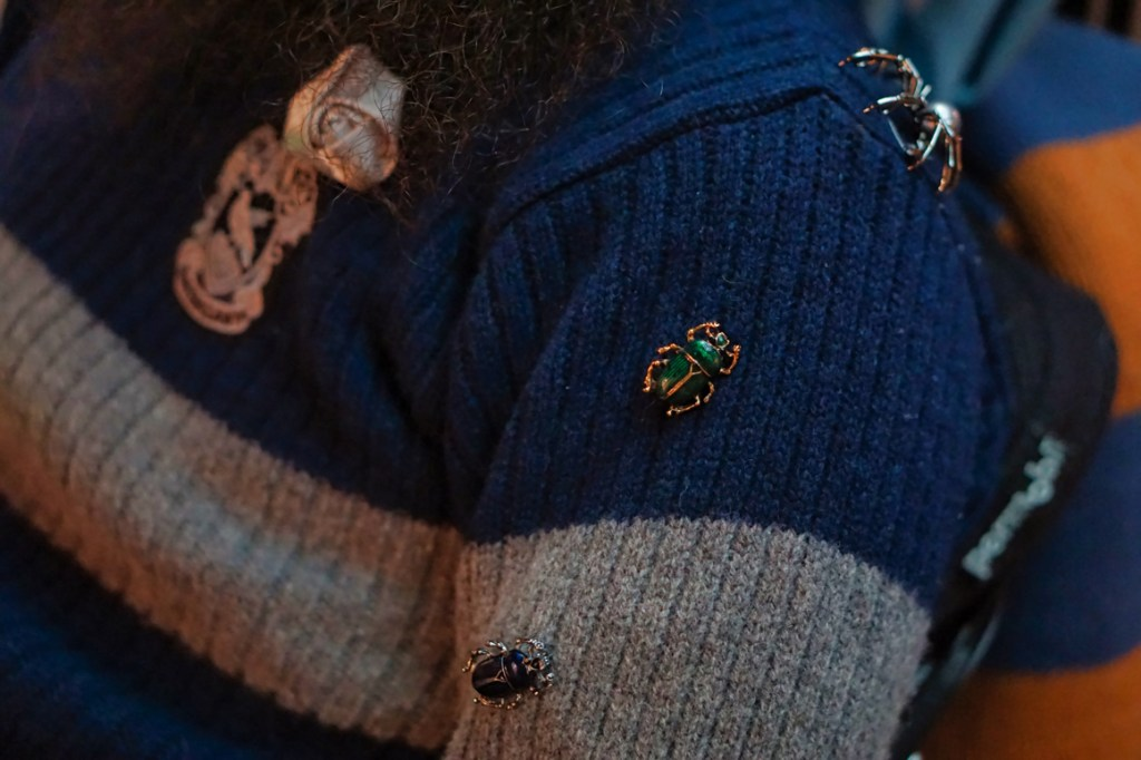 Closeup of Brad's insect pins-- one spider, a green beetle, black beetle, and a silver rose next to the Ravenclaw patch.