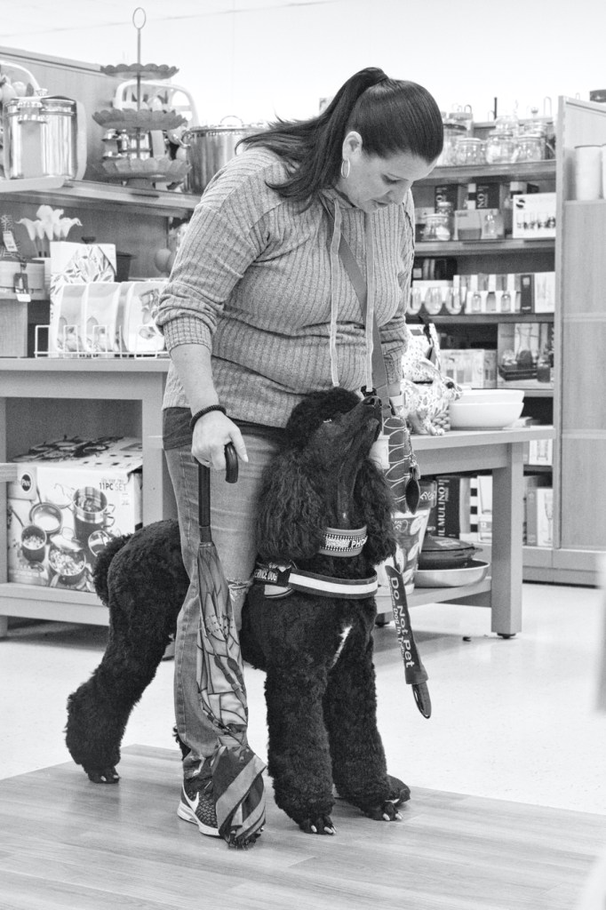 Black and white photo of Phoebe standing between Tammy's legs.