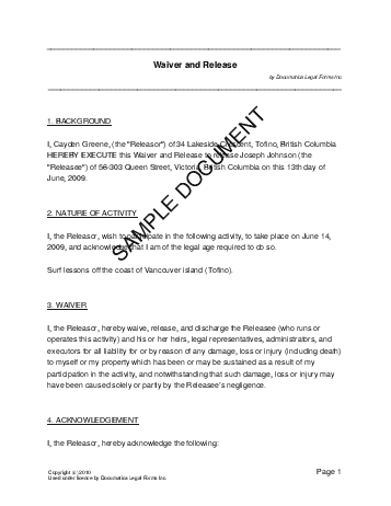 legal release form template