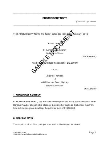Promissory Note Australia  Legal Templates  Agreements