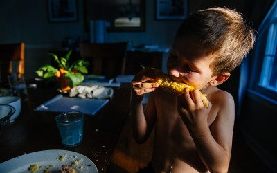 Young boy eats corn on the cob at the dining room table in dramatic light.