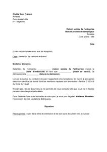Lettre De Demande De Certificat De Travail à Son Employeur