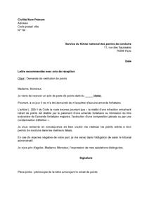 Lettre De Demande De Restitution De Points Sur Le Permis De