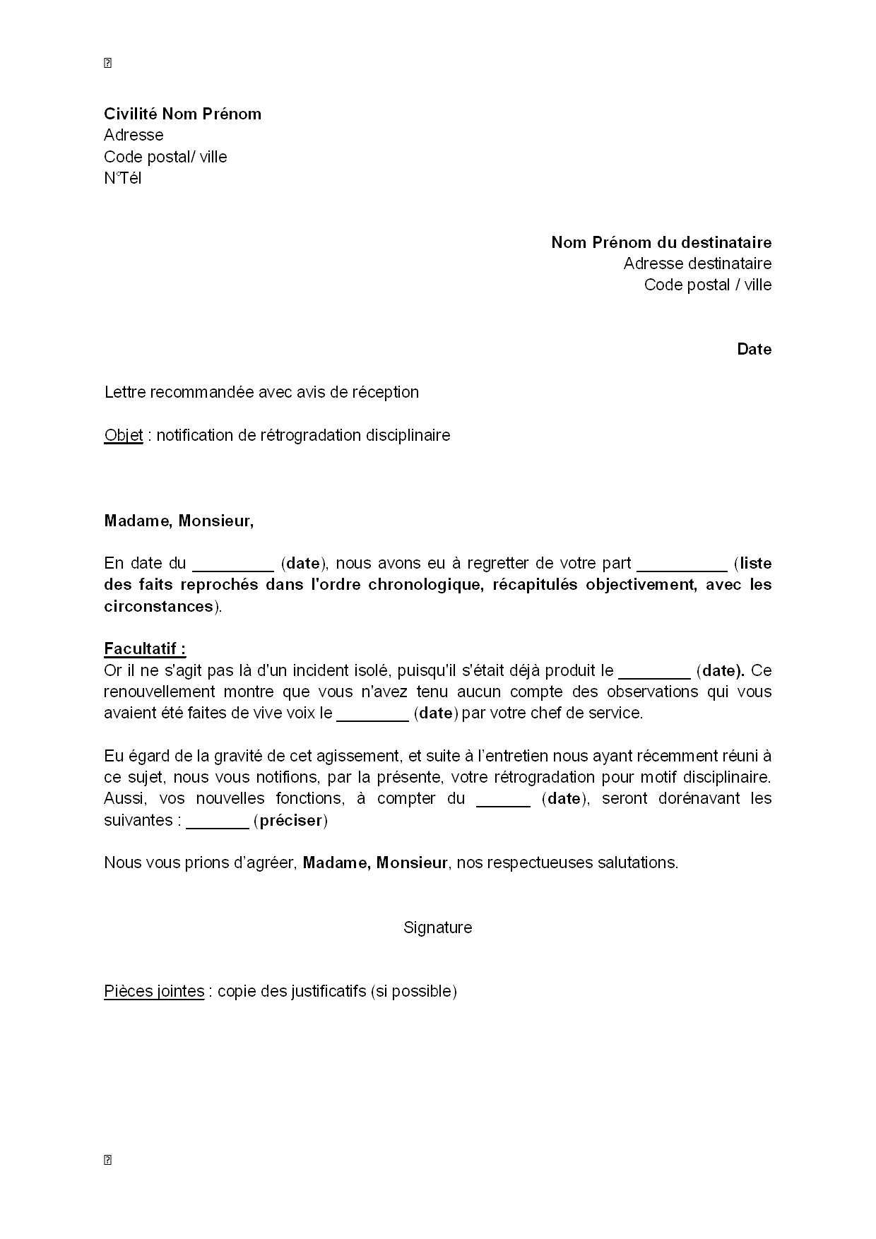 avis modele lettre lettre type