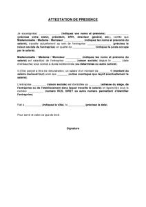 Exemple De Lettre Gratuit De Modèle Attestation Présence