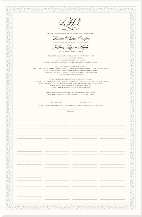 Marriage Certificates-Wedding Certificate-Quaker Marriage