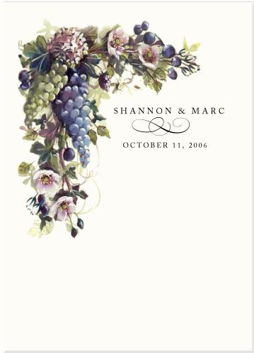 Vineyard Wedding ProgramsGrapesFruit IllustrationsPear