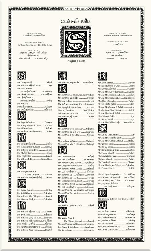 Celtic Weave Border-Celtic Wedding Seating Chart-Monogram