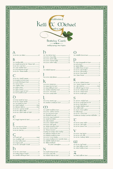 Wispy shamrock celtic wedding seating charts also unique and custom arrangement rh documentsanddesigns