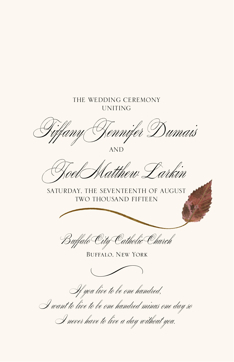 Ironwood Wispy Leaf Wedding Programs and Fall Church