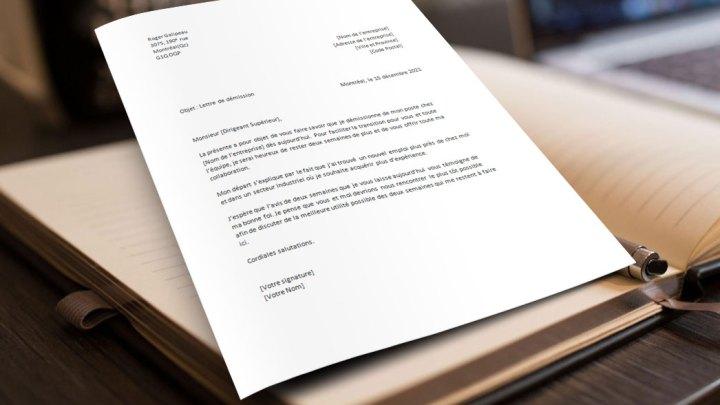Exemple et Modèle de Lettre de Démission