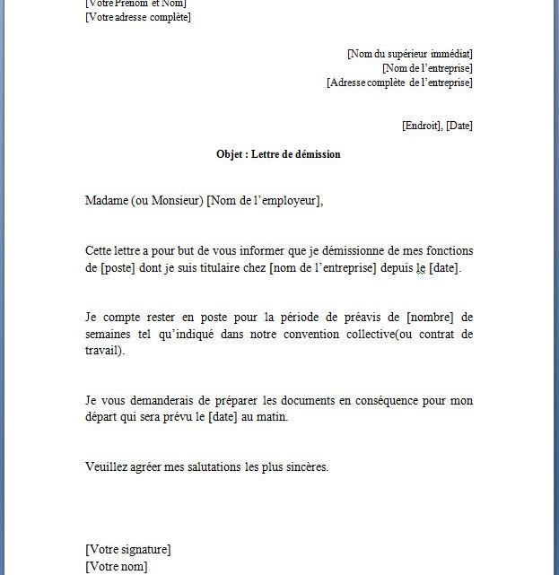 Lettre de démission pour un contrat à durée indéterminée(CDI)