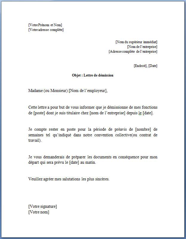 lettre de démission CD contrat à durée indéterminée