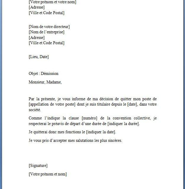 Modèle de lettre de démission gratuite