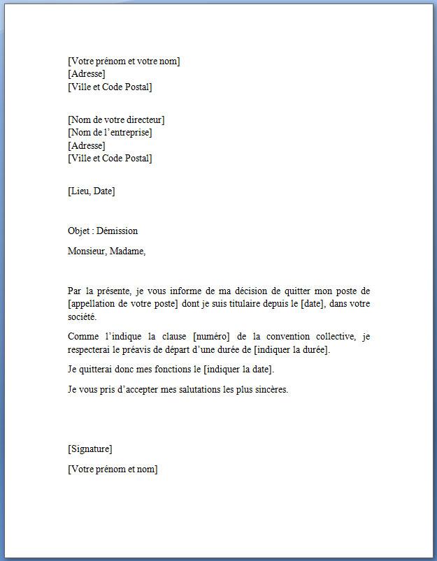 modele lettre de démission gratuite