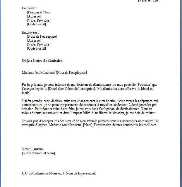 Modèle de Lettre de Démission Gratuit