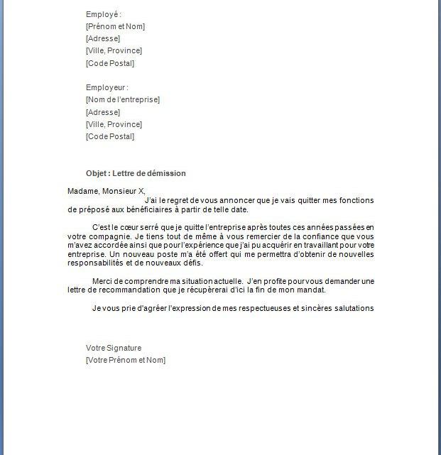 Lettre de démission pour préposé aux bénéficiaires