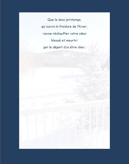 Message de condoléances… Que le doux printemps