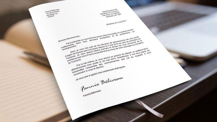 Lettre de démission agente de bureau
