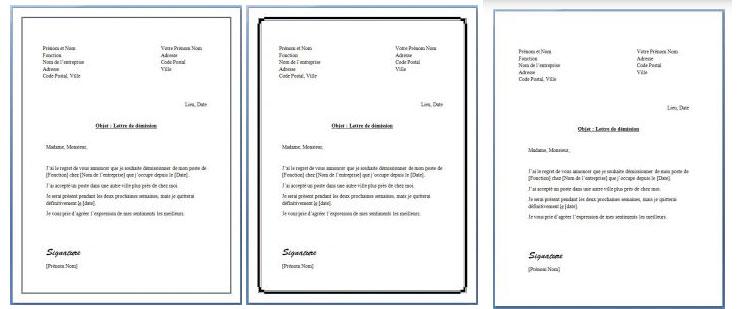 Trois lettres de démission avec préavis gratuites