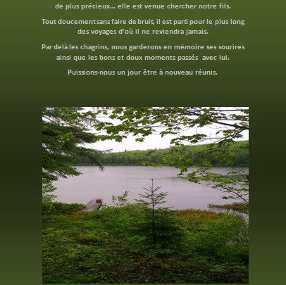 Lettre de condoléances… Signet… Le lac