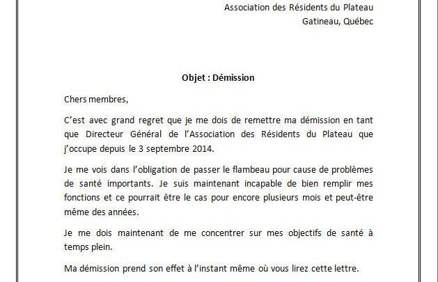 Lettre de démission d'une association