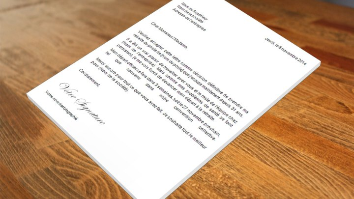 Lettre de démission Départ à la retraite