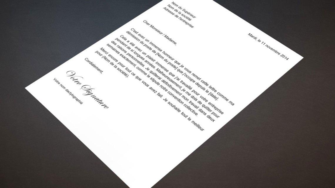 Lettre de démission pour raison personnelle