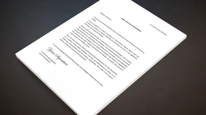 Lettre de recommandation pour un gradué secondaire ou lycée