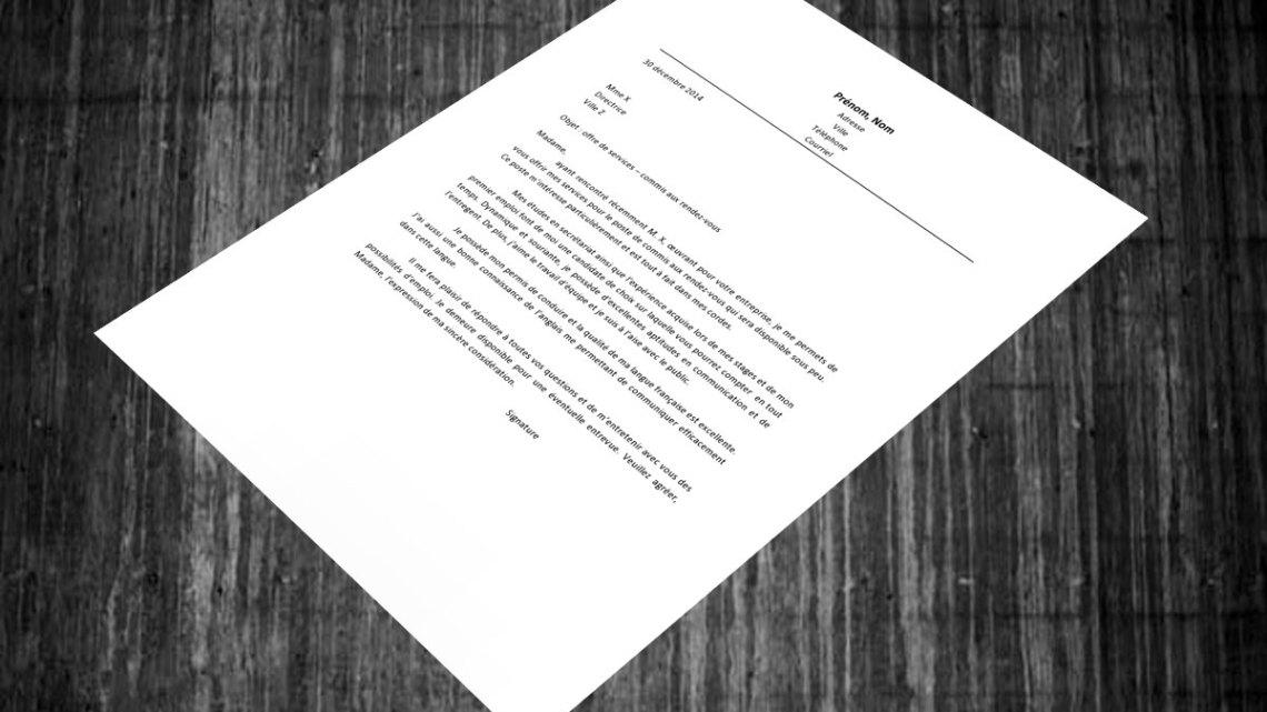 Lettre de motivation | commis aux rendez-vous