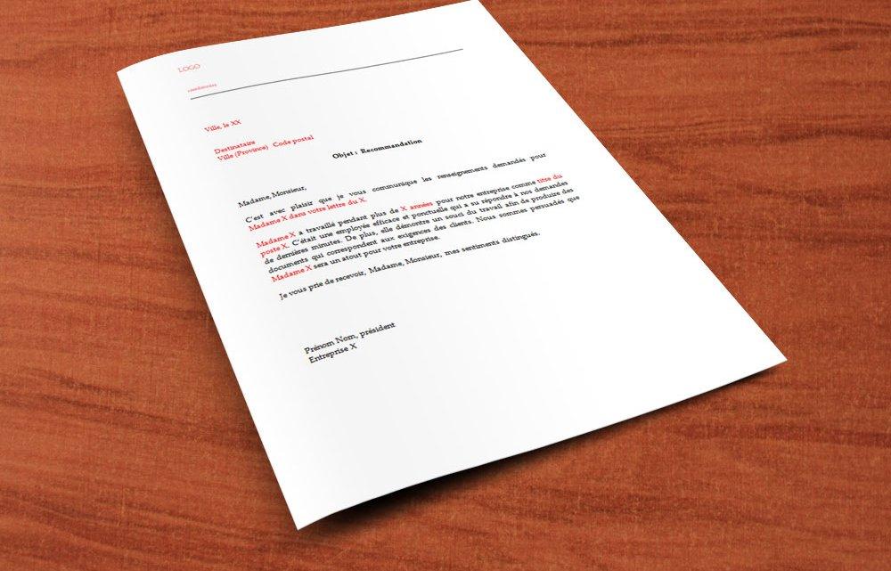 Lettre de recommandation pour un employé
