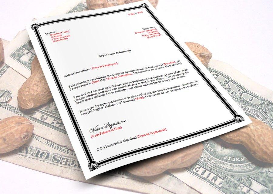 Lettre de démission pour non paiement de salaire