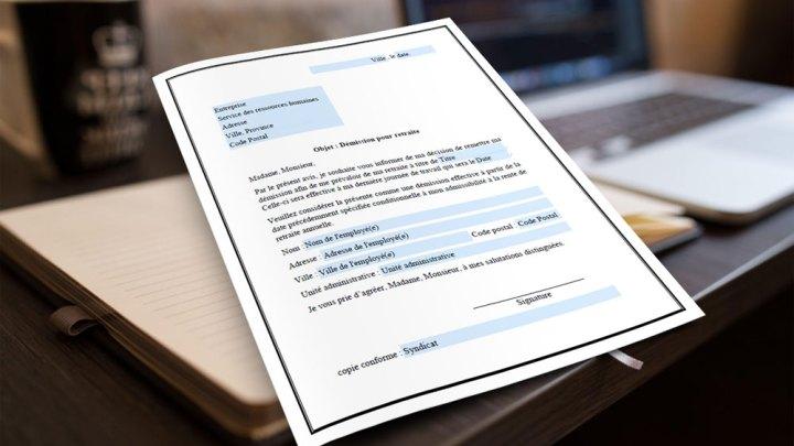 Formulaire PDF d'une lettre de démission pour un départ à la retraite