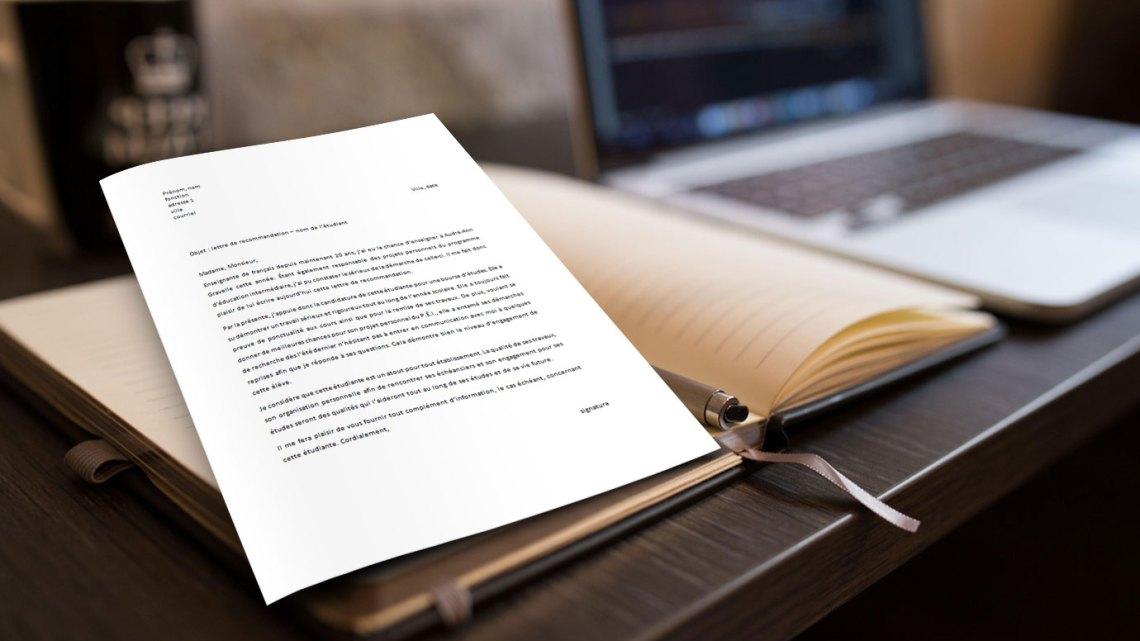 Lettre de recommandation étudiant