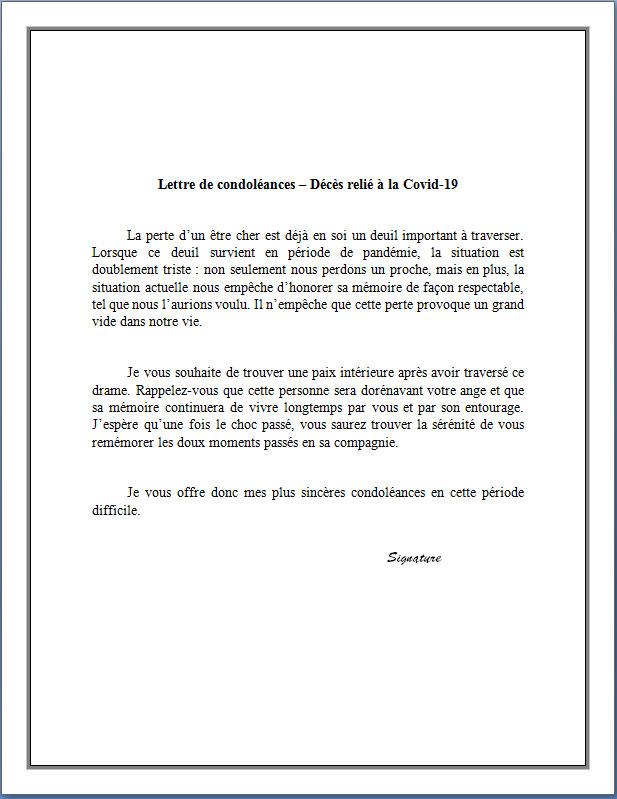 Lettre De Condoleances Covid 19 Docutexte