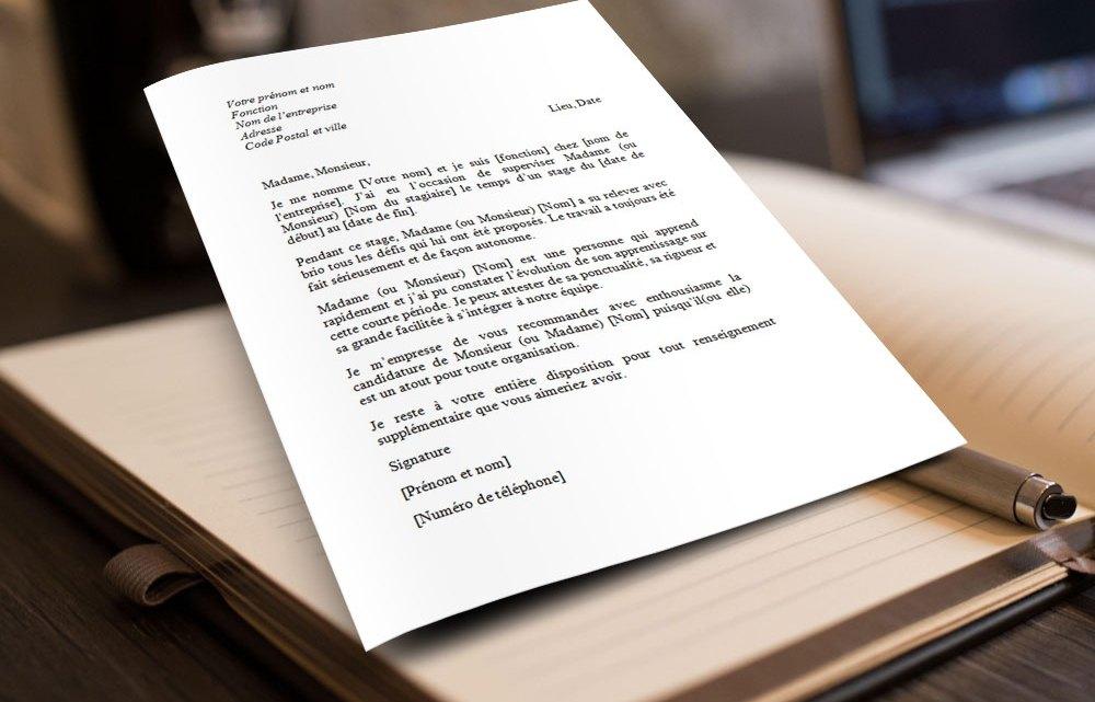 Lettre de recommandation pour un stagiaire