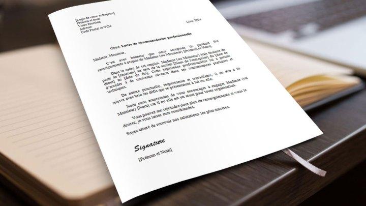 Lettre de Recommandation Professionnelle | Modèle word et texte gratuit